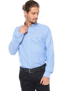 Camisa Tommy Hilfiger Reta Padronagem Azul