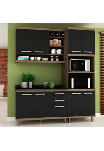 Cozinha Compacta New Vitoria 13 Avelã Tx/Onix - Hecol