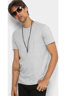 Camiseta Básica Diesel Com Fenda Masculina - Masculino-Mescla