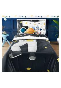 Edredom Infantil Solteiro Astronauta Marinho Gráo De Gente Azul