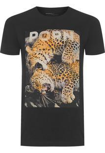Camiseta Masculina Estampada Onça Porn - Preto