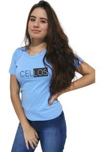 Camiseta Feminina Cellos Half Box Premium Azul Claro - Kanui