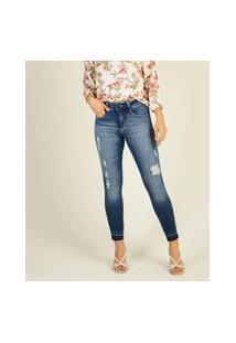Calça Jeans Feminina Capri Destroyed Biotipo