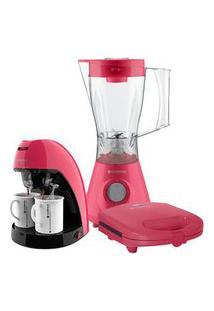 Kit Cadence Colors Rosa Doce - Cafeteira - Liquidificador - Sanduicheira 110V