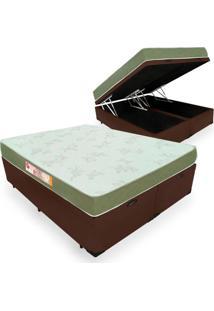 Cama Box Com Baú King + Colchão De Espuma D33 - Castor - Sleep Max - 193X203X60Cm Marrom