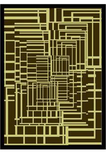 Quadro Com Moldura Hall Marrom E Amarelo (45X32)