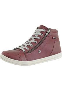 Tênis Cr Shoes Casual Cano Médio Sapatofran Com Zíper Vermelho