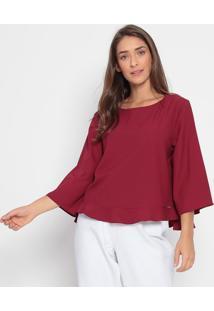 Blusa Lisa Com Vazado- Vermelho Escuro- Ennaenna