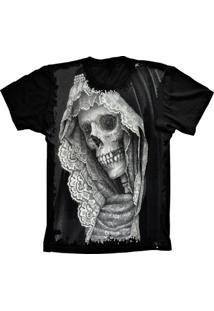 Camiseta Manga Curta Lu Geek Caveira Skull Preto