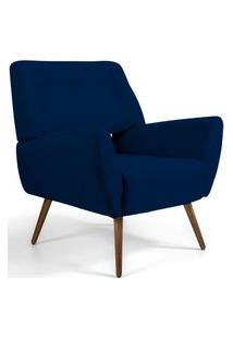 Poltrona Decorativa Fixa Pés Palito Melli Veludo Azul Marinho B-287 - Lyam Decor