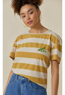 T-Shirt Amaro Folhagem Maritaca Listrado Bege E Caramelo - Multicolorido - Feminino - Dafiti