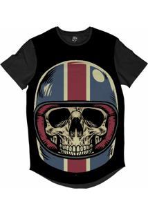 Camiseta Bsc Longline Caveira Capacete Motoqueiro 65 Sublimada Preta