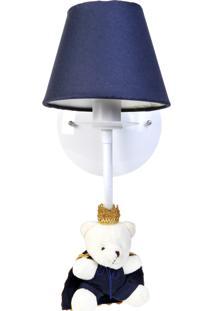 Arandela 1 Lâmpada Ursinho Príncipe Bebê Infantil Menino Potinho De Mel Marinho