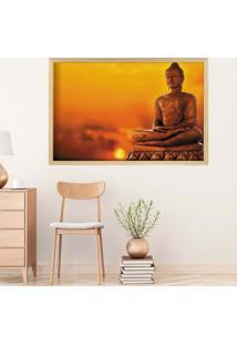Quadro Love Decor Com Moldura Buda Em Lótus Madeira Clara Grande