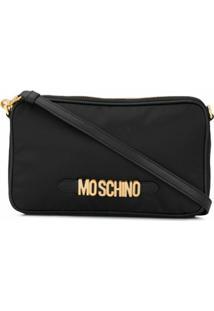 Moschino Bolsa Transversal Com Placa De Logo - Preto