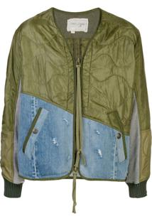 Greg Lauren Contrast Panel Bomber Jacket - Verde