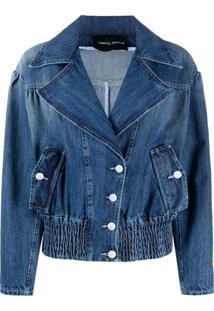 Frankie Morello Wide Lapel Buttoned Denim Jacket - Azul