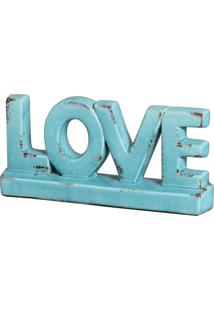 Enfeite Escultura Love Azul Turquesa Buzzios