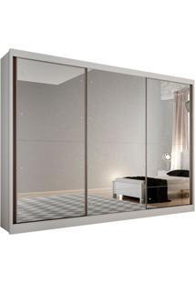 Guarda-Roupa Casal Com Espelho Passion 3 Pt Branco