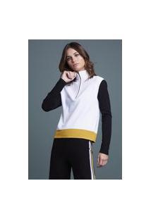Blusa Tricot 3 Cores Com Ziper Off White