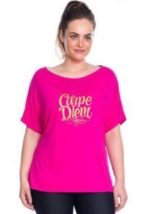 Camiseta Silk Marcyn Plus Size - Feminino-Pink