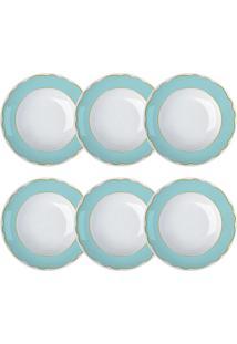 Jogo De Pratos Fundos Branco E Azul Royal Tiffany Germer