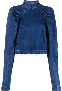 Rotate Blusa Jeans Com Mangas Longas - Azul
