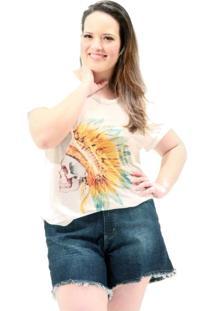 Camiseta Cocar Caveira Plus Size Off-White