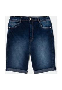 Bermuda Jeans Com Barra Dobrada Curve & Plus Size Azul