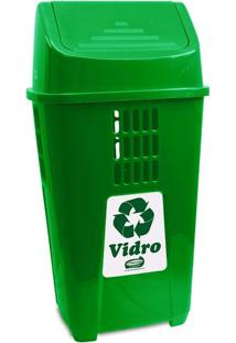 Lixeira Para Coleta Seletiva 50L Plasvale Verde