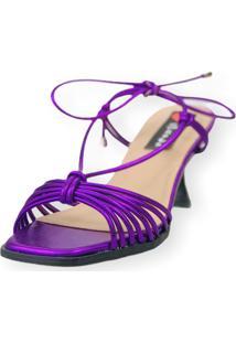 Sandalia Salto Taça Love Shoes Tirinhas Delicadas Amarração Metalizado Roxo - Kanui