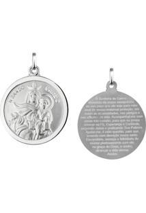 Pingente Nossa Senhora Do Carmo Redonda Em Prata 925 - Unissex-Prata