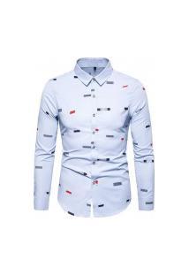 Camisa Masculina Social Slim California - Azul Claro