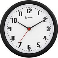 16eb5e7f4a9 Relógio De Parede Analógico Moderno Mecanismo Step Herweg Preto