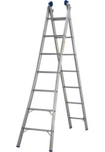 Escada Extensivel 2X7 14 Degraus - Unissex-Prata