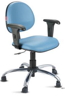 Cadeira Escritório Azul Céu Cromada Com Braços