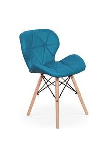 Cadeira Charles Eames Eiffel Slim Wood Estofada - Turquesa