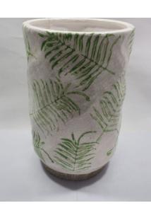 Vaso Desenho De Folhagem Com Fundo Rustico - Multicolorido - Dafiti