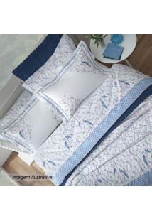Edredom Hamani Casal- Branco & Azul- 220X250Cm- Sultan
