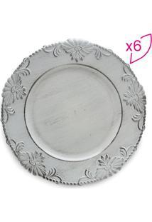 Jogo De Sousplats Flowers- Branco- 6Pçs- Bon Goubon Gourmet