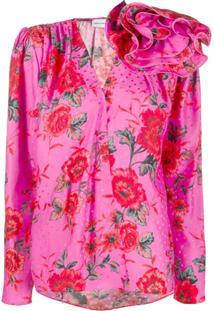 Magda Butrym Blusa De Cetim Com Aplicação Floral - Rosa