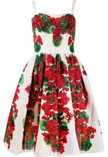 Dolce & Gabbana Vestido Evasê Com Estampa Floral - Branco