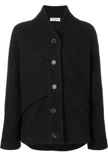 Ymc Jaqueta De Lã Com Botões - Cinza