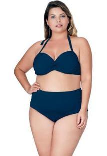 Calcinha Hot Paint Plus Size Com Drapeado Agridoce Marinho - Feminino-Azul