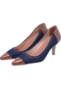 Sapato Scarpin Em Couro Miuzzi Ref: 3802 Jeans E Chocolate