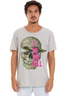 Camiseta Estonada Corte À Fio Estampada Joss Skull Ondulada Cinza