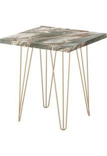 Mesa Lateral Quadrada 45 Petra Pé De Ferro Dourado - Líder Design