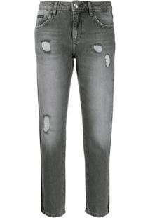 Philipp Plein Calça Jeans Boyfriend Destroyed - Cinza