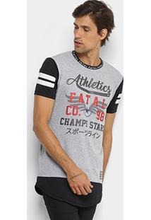 Camiseta Fatal Alongada Champs Stars Masculina - Masculino-Cinza Claro
