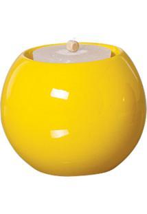 Castiçal Bella De Cerâmica 10Cm Amarelo Mazzotti